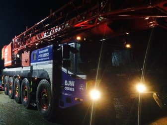 BJW Crane Hire Crane at Night