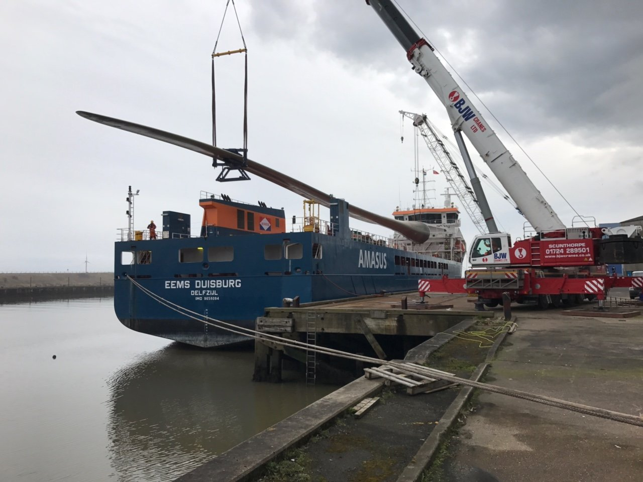 BJW Mobile Crane Hire Lifting onto Cargo Ship